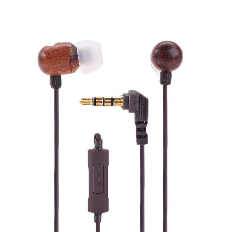 In Ear Wooden Headphone with Microphone, Length : 1.2m