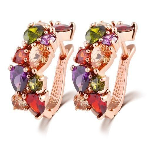 1 pair colorful zircon earrings stud for women and girls(Rose Gold)