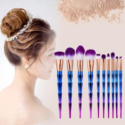 10 in 1 Diamond Style Handle Makeup Brush Cosmetic Foundation Cream Powder Blush Makeup Tool Set (Blue Purple Gradient Color)