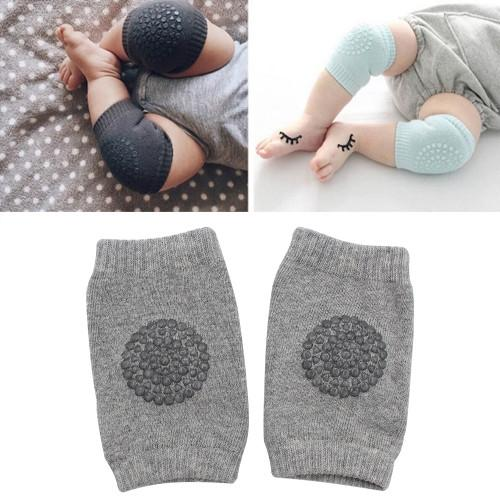One Pair Anti-slip Children Baby Crawling Walking Knee Guard Elbow Guard Protecting Pads(Light Grey)