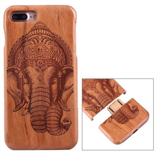 For iPhone 7 Plus Separable Carving Indian Elephant Pattern Cherry Wood Protective Back Case Shell
