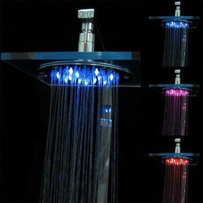 Organic Glass Temperature Sensor 3-Color (Blue / Pink / Red) LED Shower Head
