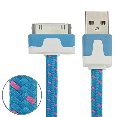 Woven Style 30 Pin to USB Data / Charging Cable Length: 2m(Blue)