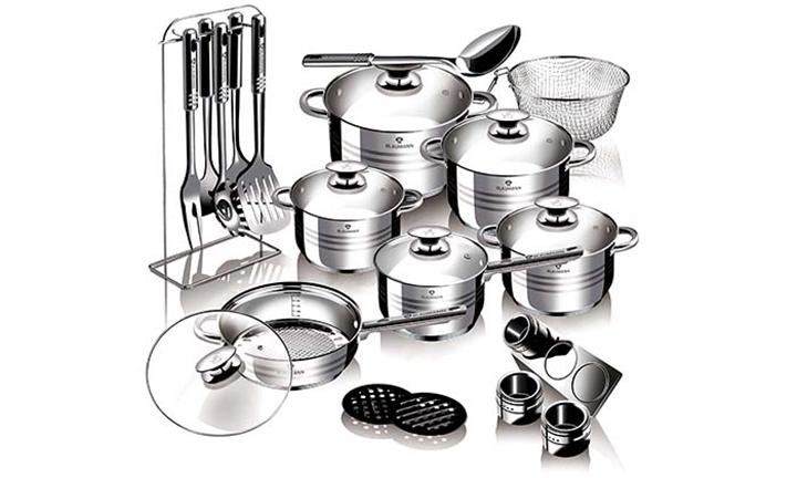 Blaumann 27-Piece Stainless Steel Induction Bottom Jumbo Cookware Set for R1599