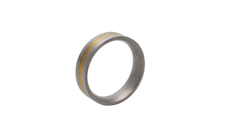 Titanium Mens Ring with 14ct Gold Inlay for R799