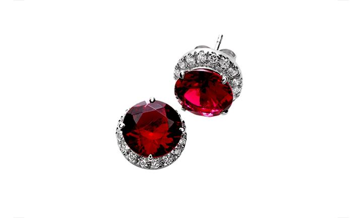 925 Sterling Silver Ruby CZ Earrings for R379