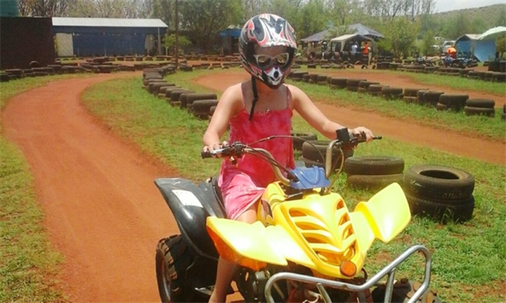 Kiddies Quad Bike Rides with a Drink and Crisps From R198 at Zwartkops Quad Centre