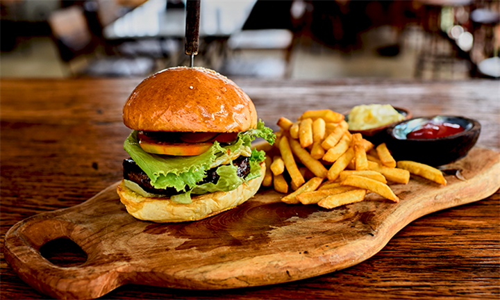 Beef or Chicken Burger with Chips and Choice of Sauce for Up to Six People at Scrooge Diner from R129