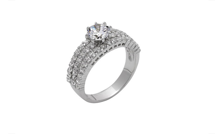 925 Sterling Silver Fancy CZ Ring for R449