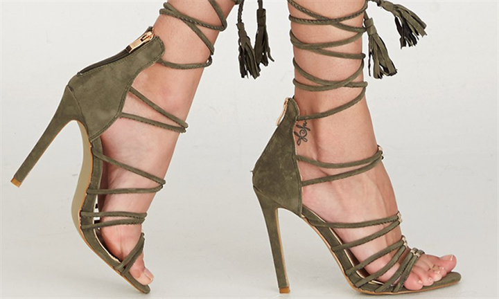 Lace-up Stiletto Khaki Green For R399 incl Delivery
