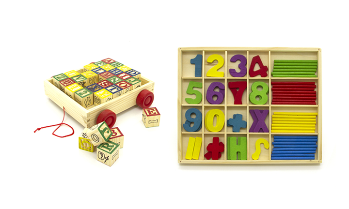 30-piece Wooden ABC Block Cart + Wooden Numeric Toy Computation Study Box Set For 249 incl Delivery