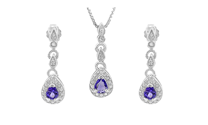 Pear Cut Tanzanite and Diamond Earrings and Necklace Set for R999 Including Delivery