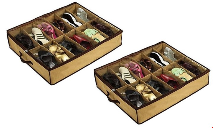 Set of Two: 12-Pair Shoe Organiser For R129