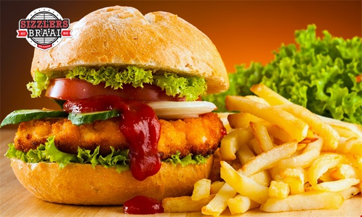 Choice of Sizzling Burgers and Chips with Sizzlers Braai