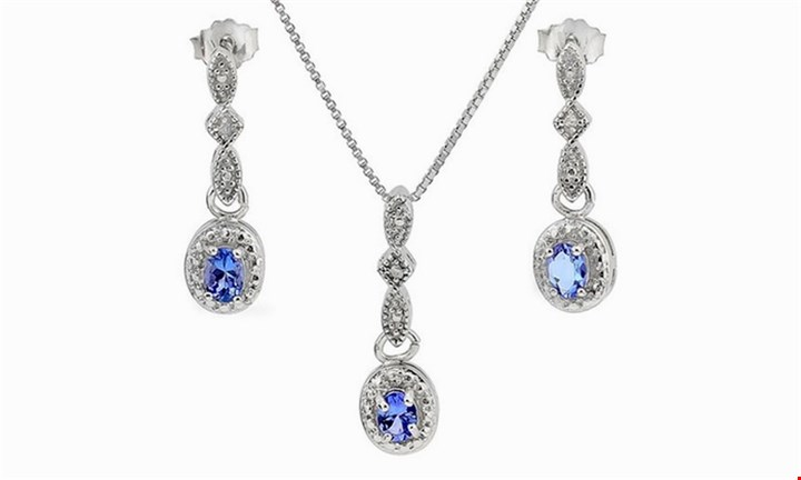 Oval Cut Tanzanite and Diamond Earrings and Necklace Set for R1199