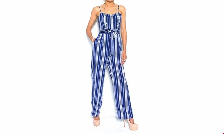 Ladies Stripe Tie Belt Summer Jumpsuit for R349