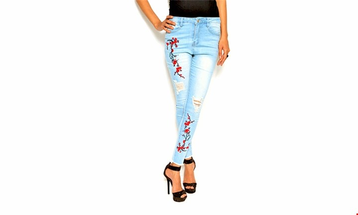 Ripped Floral Embroidered Jeans for R279