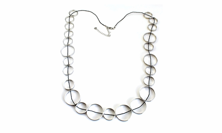 Silver Multi Ring On Cord Necklace for R149