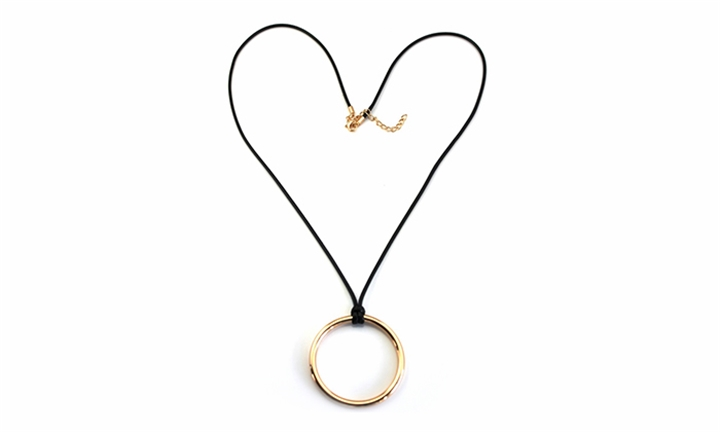 Gold Large Ring On Thong Necklace for R129
