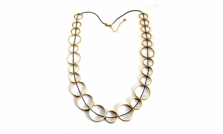 Rose Gold Multi Ring On Cord Necklace for R149