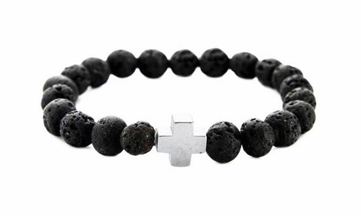 Volcanic Stone Beaded Bracelet Cross Charm for R199
