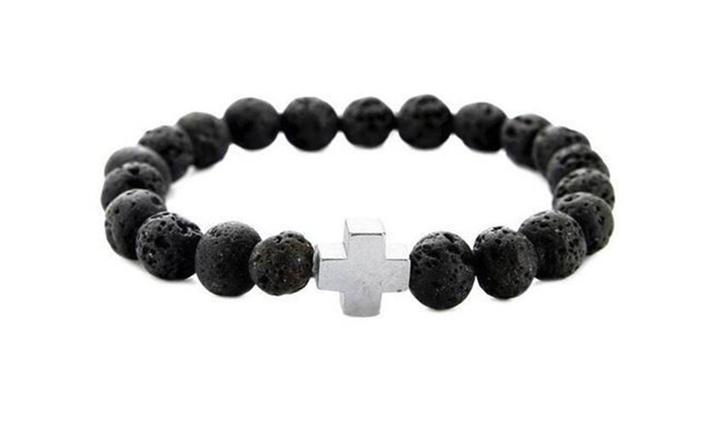 Volcanic Stone Beaded Bracelet w/Cross Charm for R199