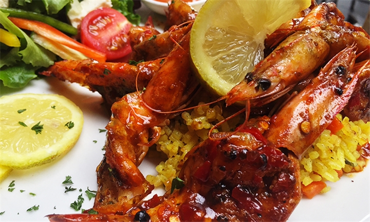 Cajun Prawns with Side for up to Six at the Lounge on Kromboom