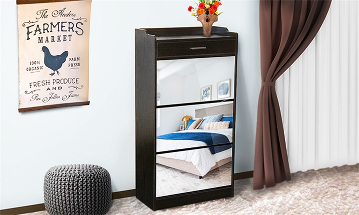 Fine Living Mirror Shoe Cabinet With Drawer for R1399