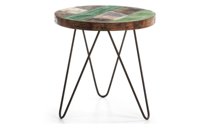 Notfa Side Table Metal Frame Top Wood for R4199