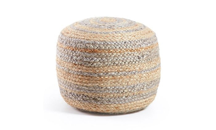 Samy Pouf Jute Round 40X45 Natural Light Grey for R1399