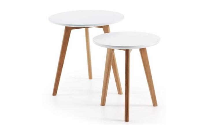 Brick Set 2 Side Tables Ø50 Leg Wood Nat Top MDF White for R3999