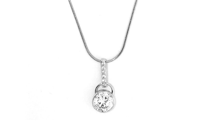 Skyla Jewels 925 Sterling Silver Round Crystal Necklace on Snake Chain for R899