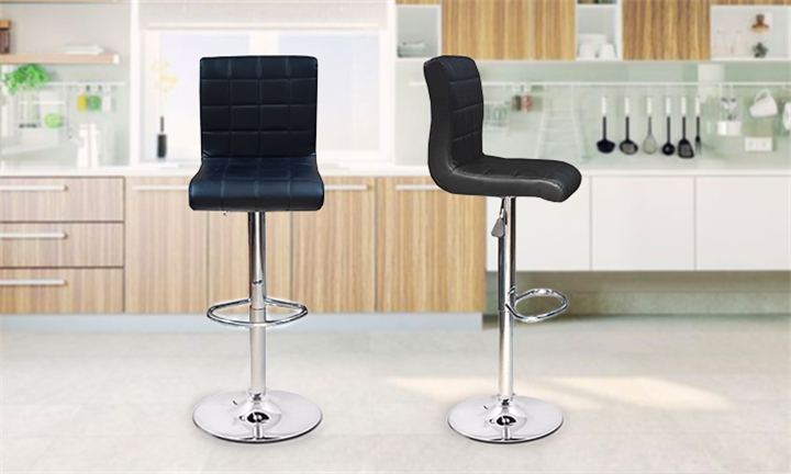 Black PU Leather Gas Lift Bar Stool (Set of Two) for R999