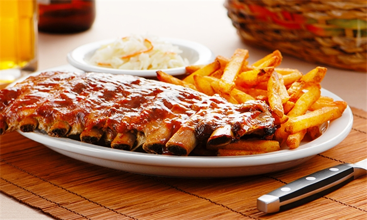 500g Pork Ribs with Chips for Two at Santis