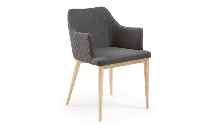 Danai Armchair Nat Wood Quilted Fabric Dark Grey for R3999