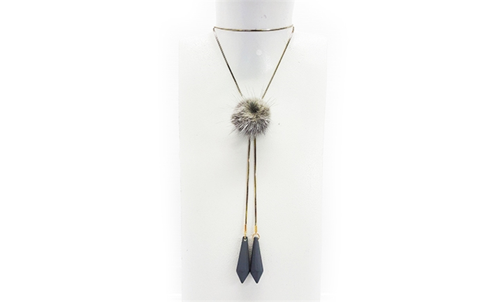 Joy Collectables Pompom Necklace in Grey for R79