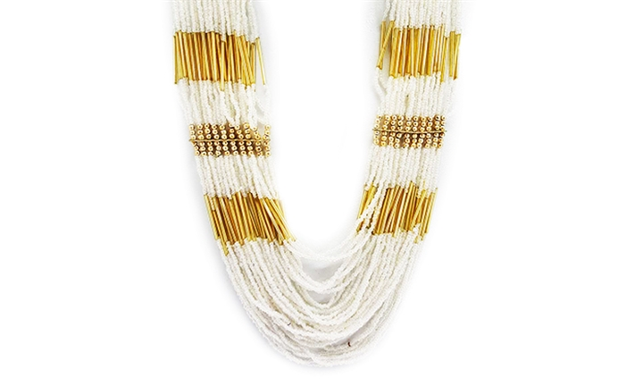 Joy Collectables Multi Bead Necklace in White Gold for R79