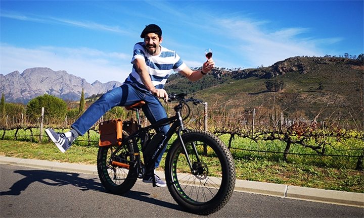 Choice of E-Bike Wine Tour for up to Six Including Wine Tasting, Coffee, Snack Platter and Wine Farm Visits with Vine Bikes
