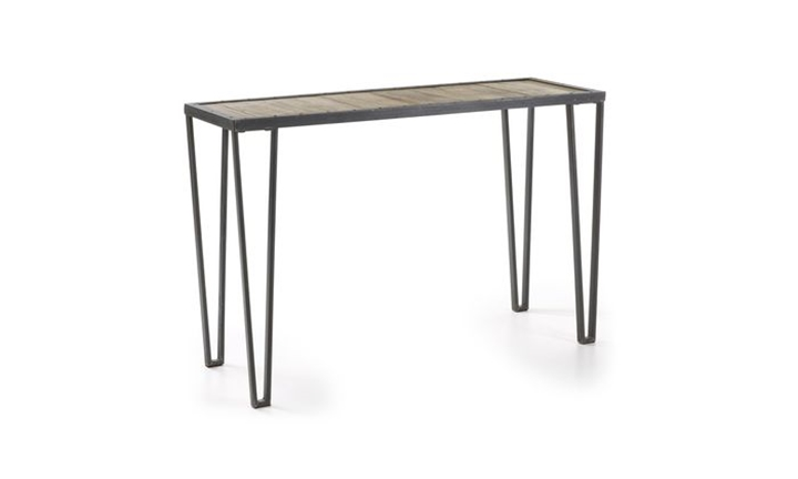 Rotcip Console Grey Iron Frame Natural Wooden Top for R5699