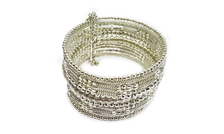 Joy Collectables Beaded Metal Bangle in Silver for R99