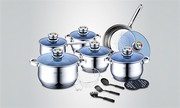 Royalty Line 18-Piece Stainless Steel Cookware Set for R1399