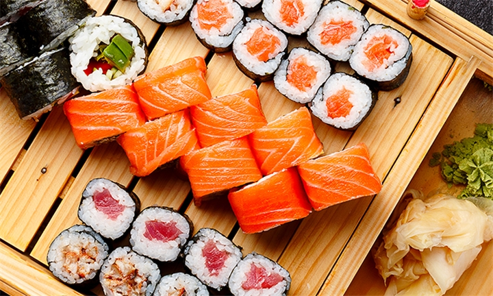 24-Piece Salmon Sushi Platter at Maggie's Chinese Restaurant & Sushi Bar