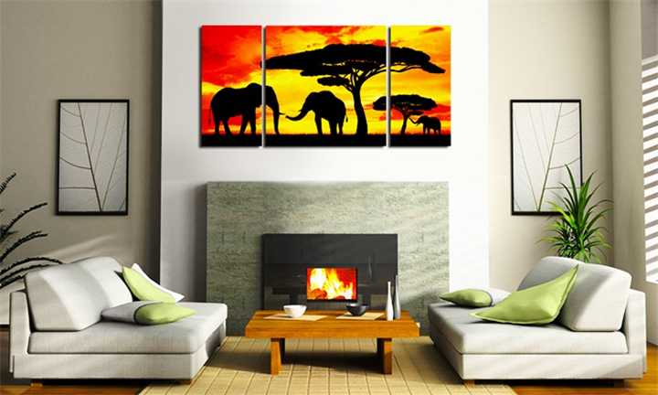 Silhouette Elephants In The Sunset Canvas Print for R149