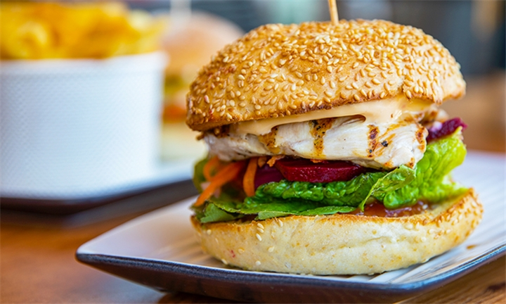 Choice of Chicken or Beef Burger with Side Each for Two at Kaddy's Cafe