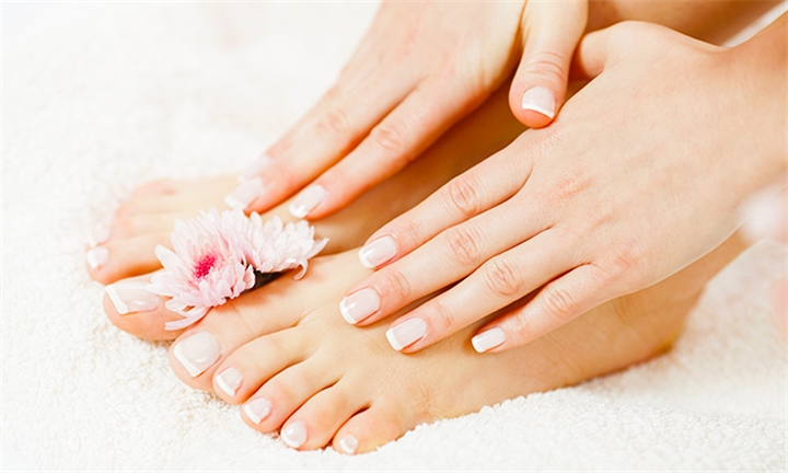 Express Manicure or Pedicure with Gelish Paint at Glam Bar