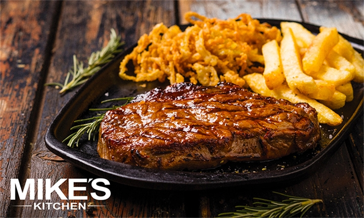 200g Sirloin Steak Each with Chips and Onion Shavings for Two at Mike's Kitchen, Bryanston