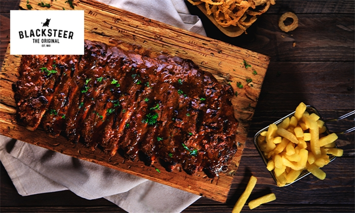1kg or 2kg Pork Ribs to Share for Two or Four Including Onion Rings and Chips Each at Blacksteer Brentwood