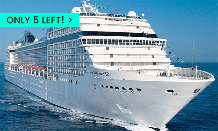 21 Jan 2020 MSC: 3-Night Cape Town to Durban One-Way Cruise for Two Adults Aboard the MSC Orchestra