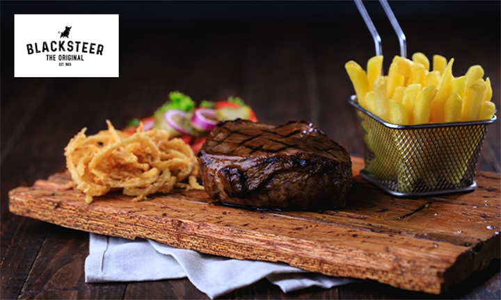 Choice of 200g Rump or Sirloin Steak with Side Each for up to Four at Blacksteer Brentwood