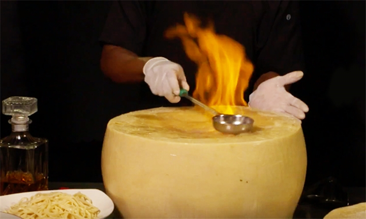 Flaming Cheese Wheel Experience for Two – Wednesday or Saturday at Choo Choo Junction